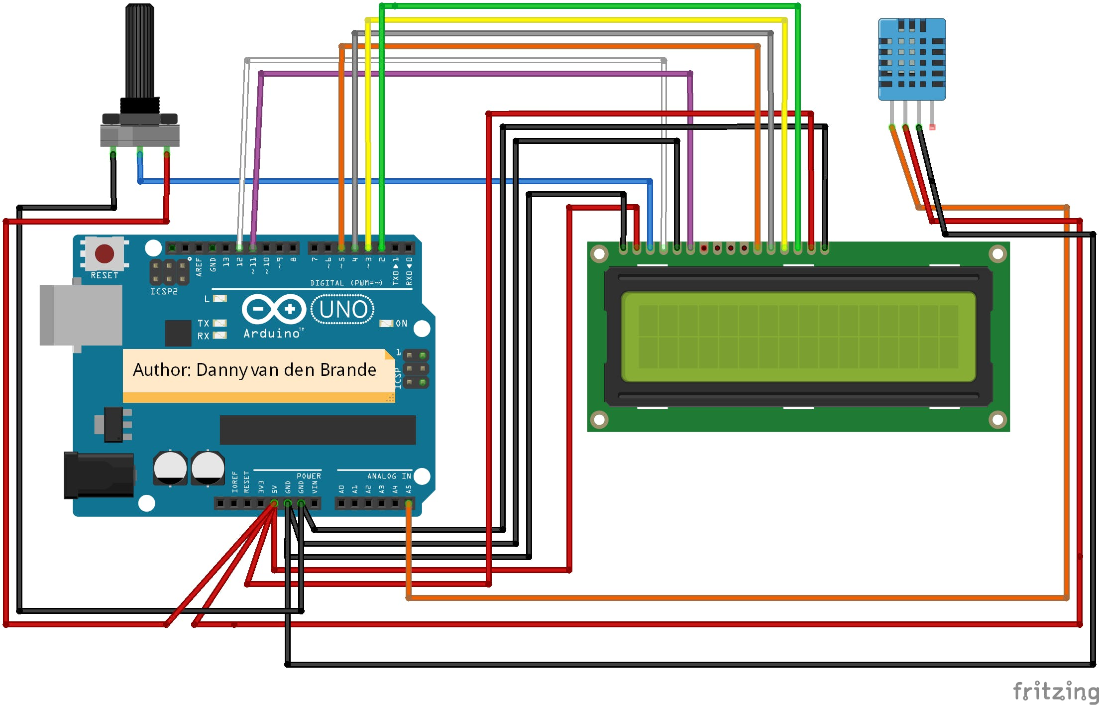 Arduino - Temp and humidity DHT11 + LCD 1602A - KY-015