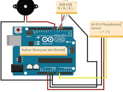 Photo electric alarm using the KY-010 sensor