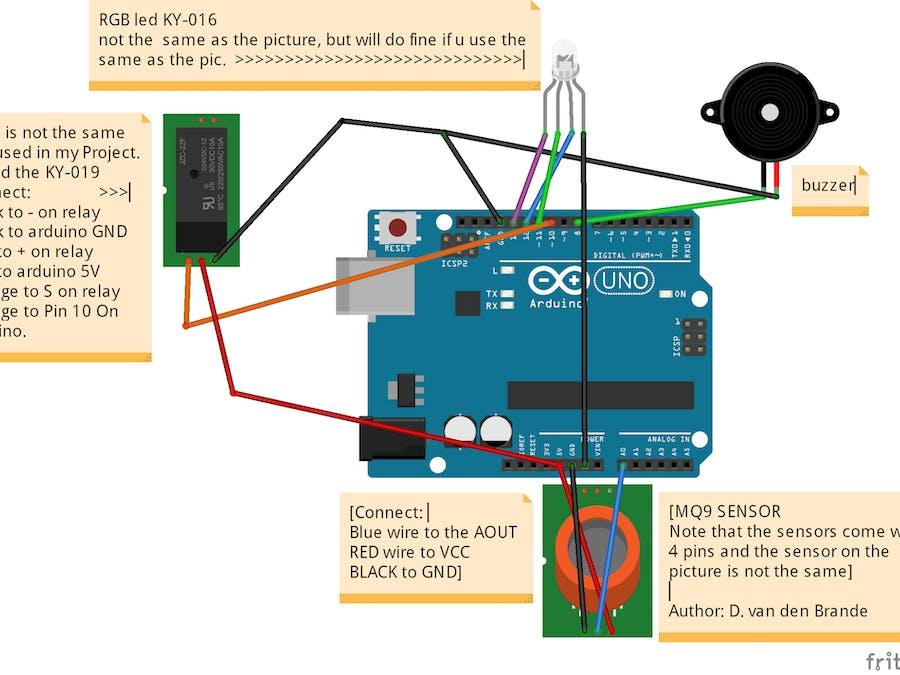 Arduino Carbon Monoxide detector Alarm with relay