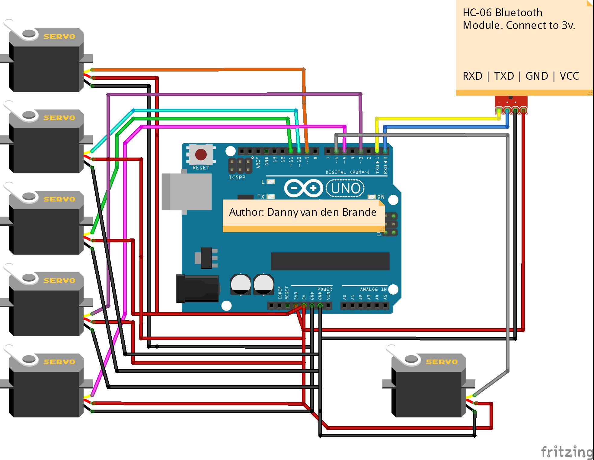 Arduinoandroid Bluetooth Multi Servo Motor Control Hacksteriorhhacksterio: Arduino Bluetooth Module Schematic At Gmaili.net