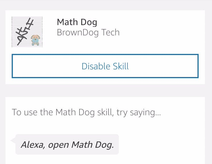 Practice with Math Dog on Alexa