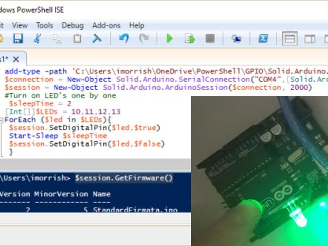 Powershell gpio using arduino usb support in windows