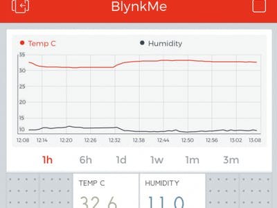 Room temperature and humidity graph on smartphone