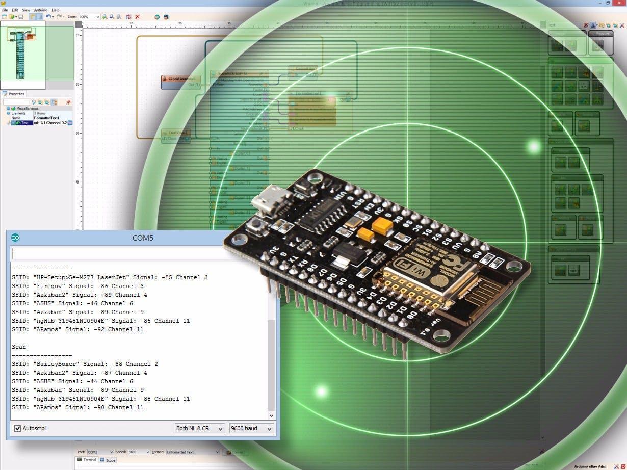 ESP8266 and Visuino: Wi-Fi Network Scanner