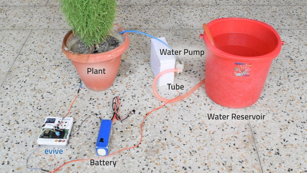 Plant monitoring and watering system using Evive