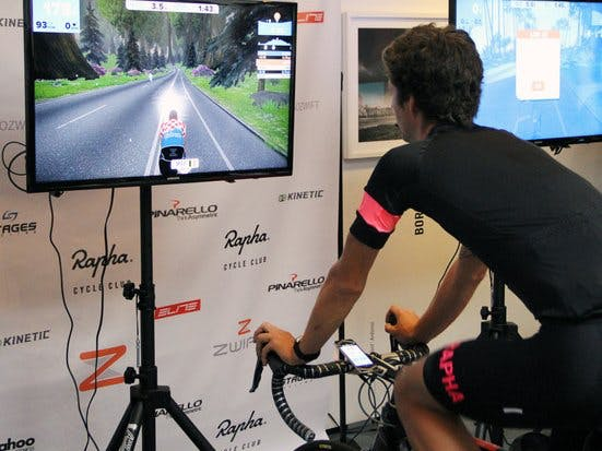 Handlebar remote control for Zwift virtual cycling game