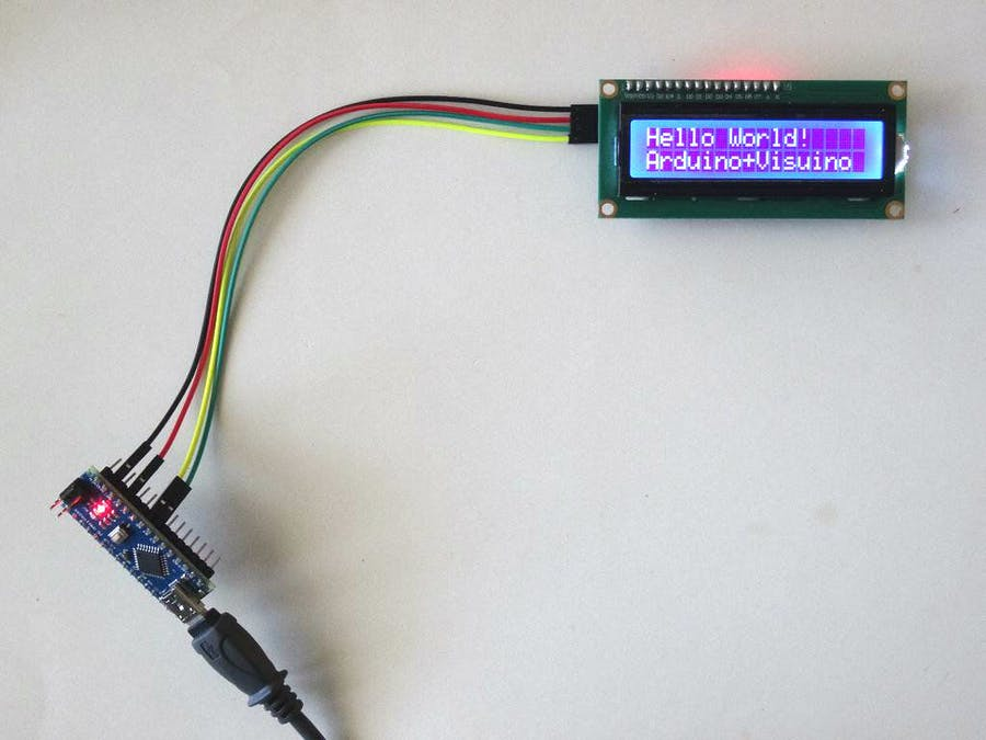 Arduino Nano: I2C 2 X 16 LCD Display with Visuino - Arduino
