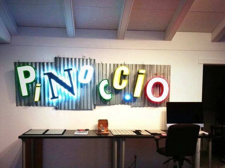 Giant Lighted Pinoccio Sign