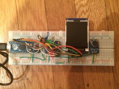 Arduino Micro w/ 3 sensors and color LCD readout