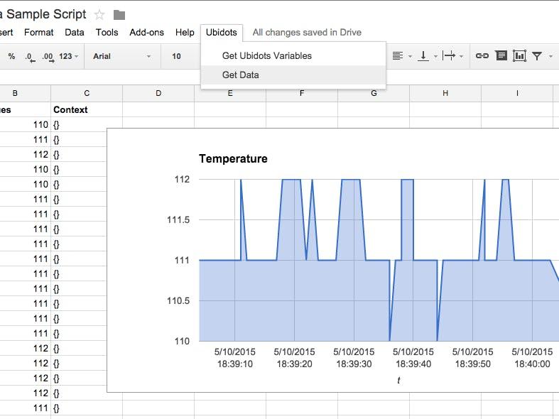 Get Ubidots data from Google Sheets