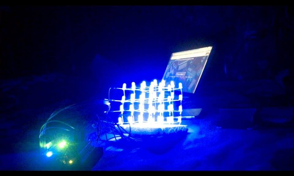 4x4x4 LED cube with Arduino Uno and 1sheeld