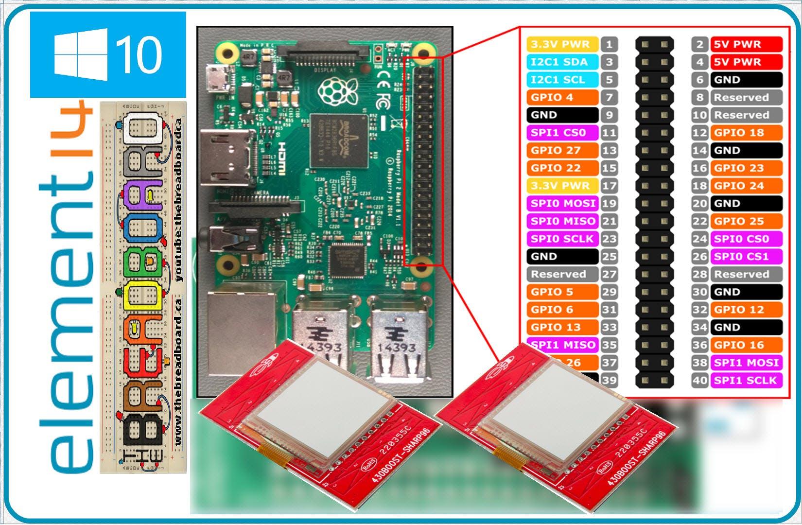 SHARP96 LCD Displays on a PI 2, Windows 10 IoT
