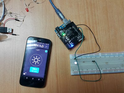 Controlling LED light intensity using smartphone light senso