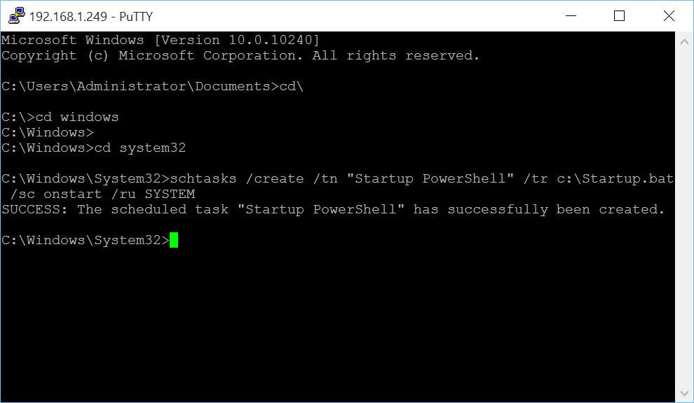 Windows IoT Core: Running a PowerShell Script on Startup