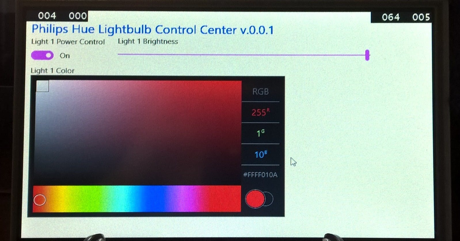 WinIoT :  Philips Hue Touchscreen Panel Application