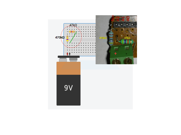Breadboard Connection For voltage divider network