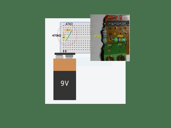 Breadboard Connection For voltage divider network