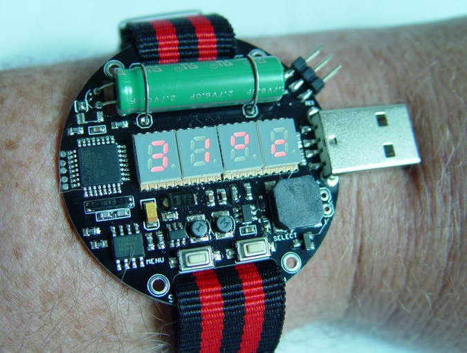 Logs for supercapacitor powered arduino led wrist watch