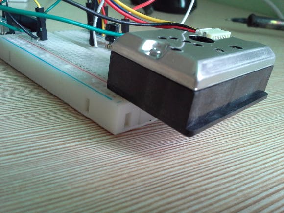 Dust Sensor attached on top of breadboard