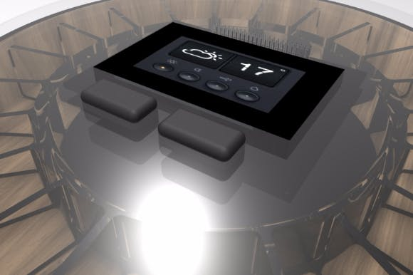 Pillbox with LCD screen and transparent top