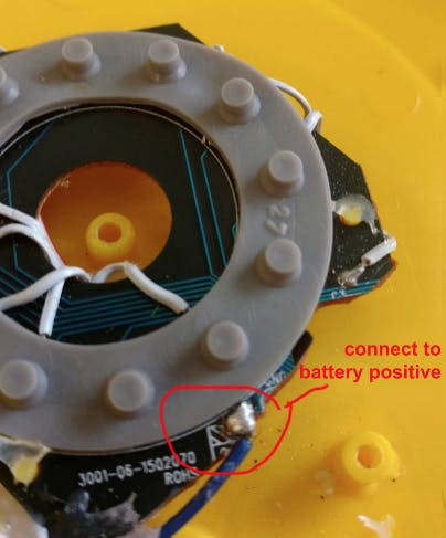 This is where to connect the See 'n' Say for our own battery power.