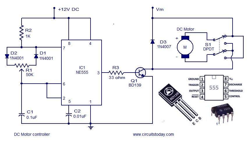 Motor controller circuit using 555timer