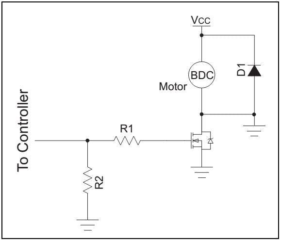 Simple motor controller using transistor