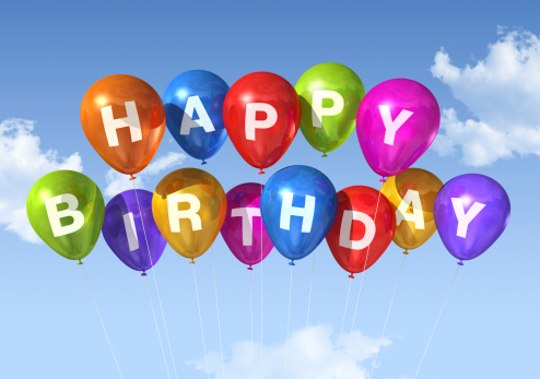 SUPER COLOURFUL GLOSS COATED PRESENTS BALLOONS HAPPY BIRTHDAY GREETING CARD