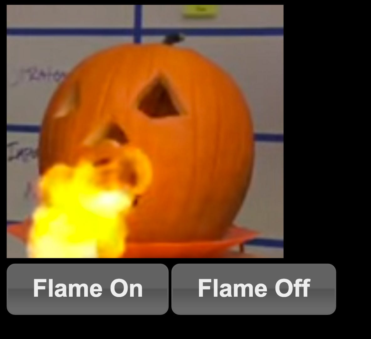 Pumpkin Mobile Web-App. When on the pumpkin showed a flame