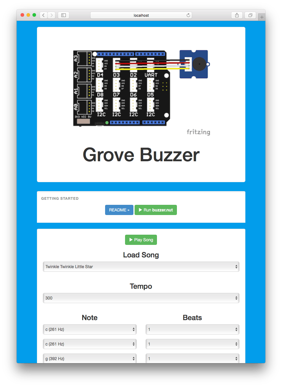 Turns the Esquilo into a web-controlled music player using the Grove buzzer module
