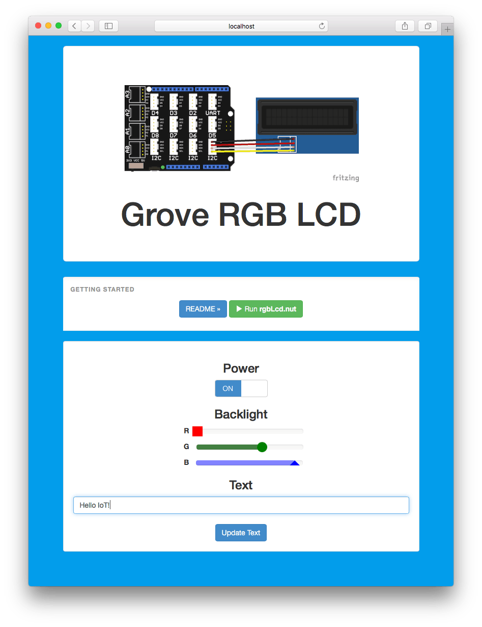 Control the text displayed and the backlight color of a 16x2 RGB LCD from a web app