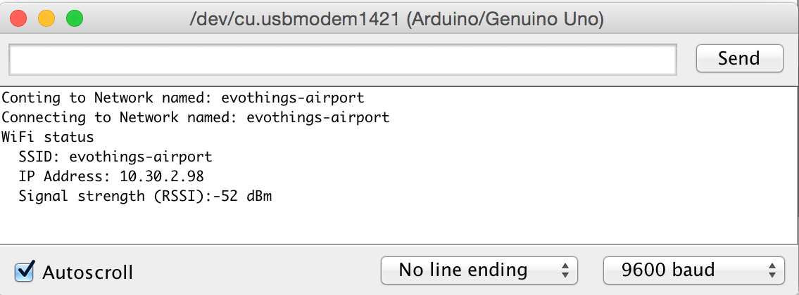 Screen shot from Serial Monitor in the Arduino SDK