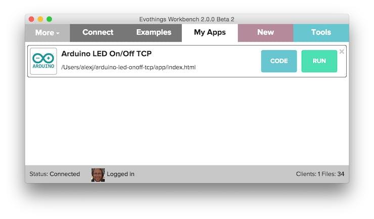 Evothings Studio Workbench, My Apps tab selected