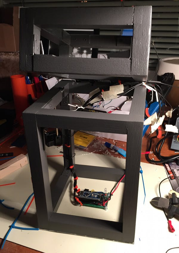 The frame with the board mounted