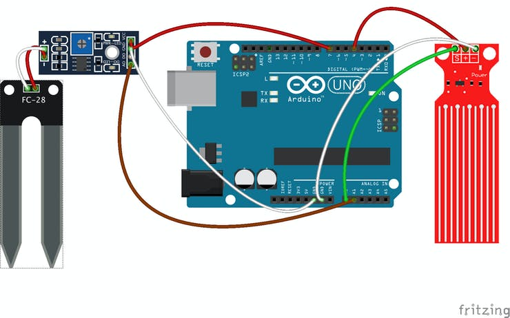 Wiring Soil Moisture and Water Level Sensor with Arduino UNO