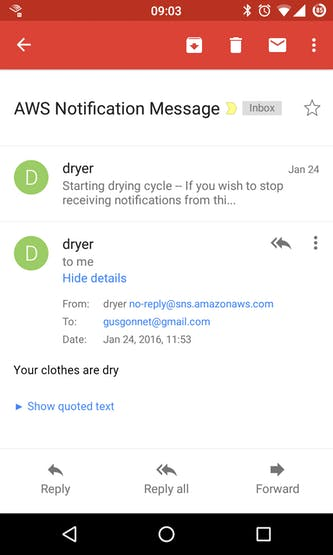 """Starting drying cycle"" and ""Your clothes are dry"" emails"