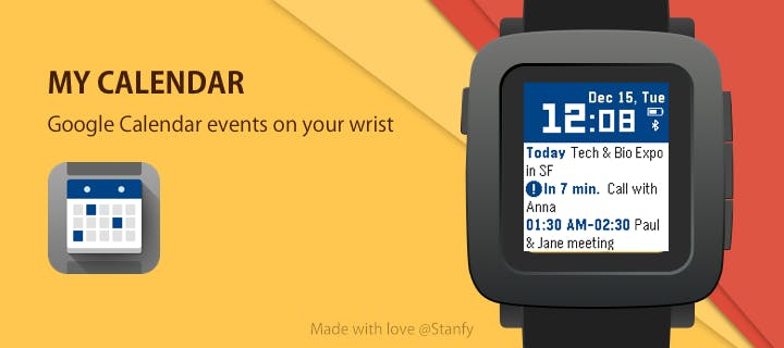 My Calendar app for Pebble Time