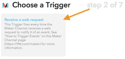 The Maker channel is going to listen for web requests on the Event Name (see next step)
