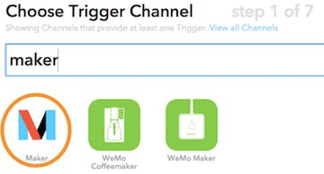 select the IFTTT maker channel
