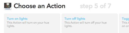 choose a Hue action