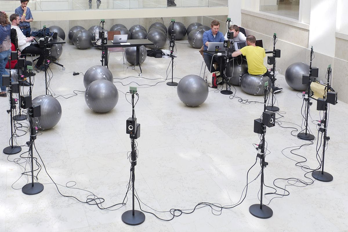 Setup in the Atrium of Kinoteka Building at Resonate 2015