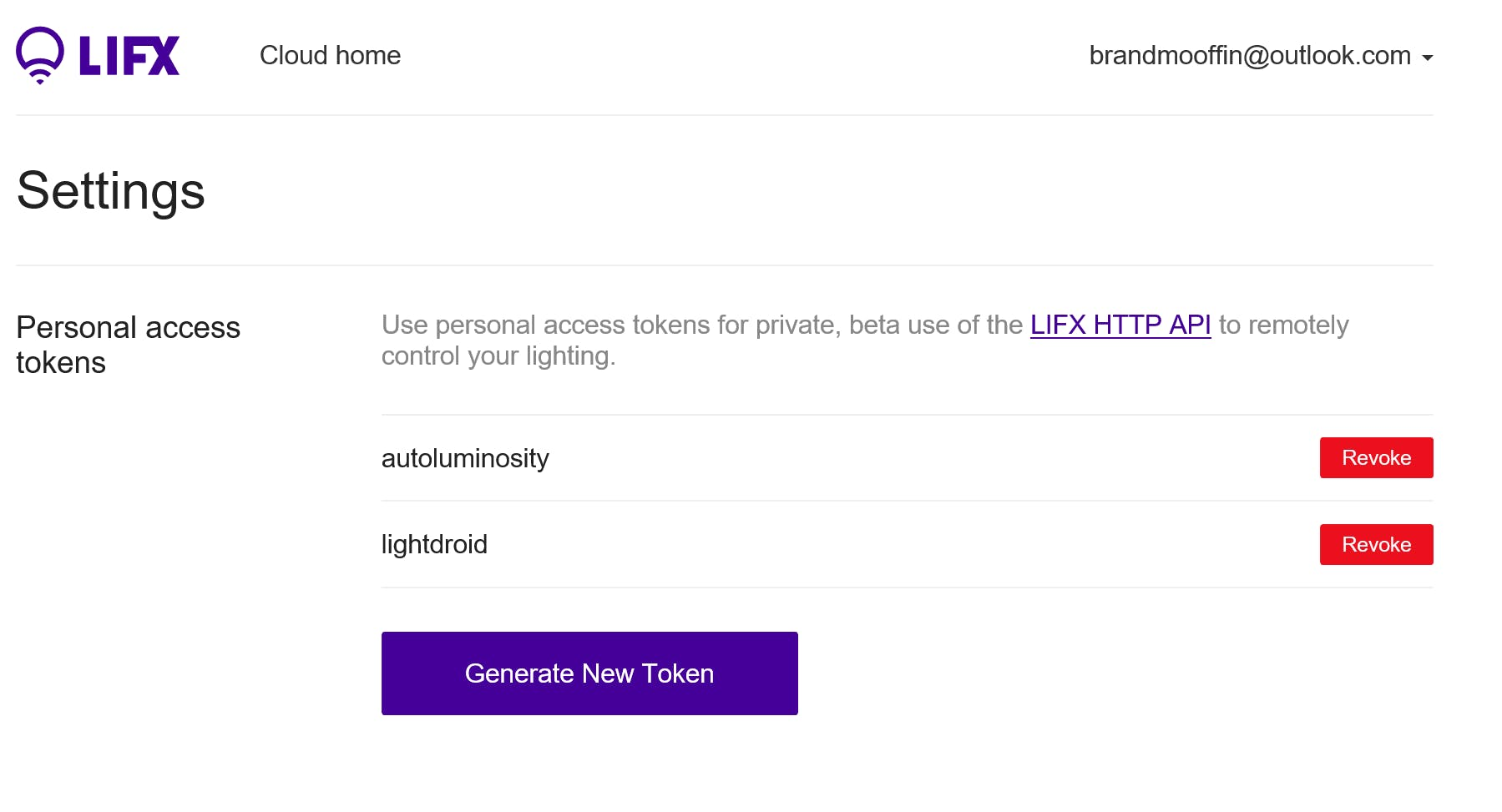 Lifx Cloud Settings - Generate Access Token