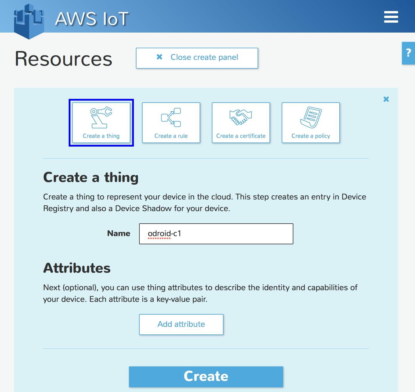 Create an AWS IoT Thing