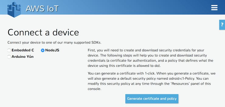 Generate certificate and policy