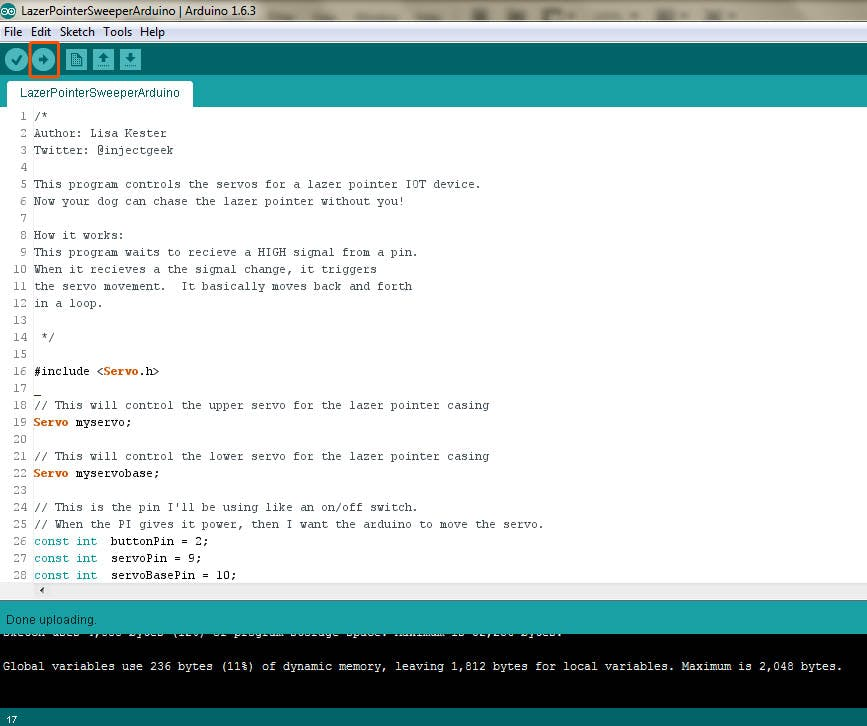 Send the included servo program over to the Arduino