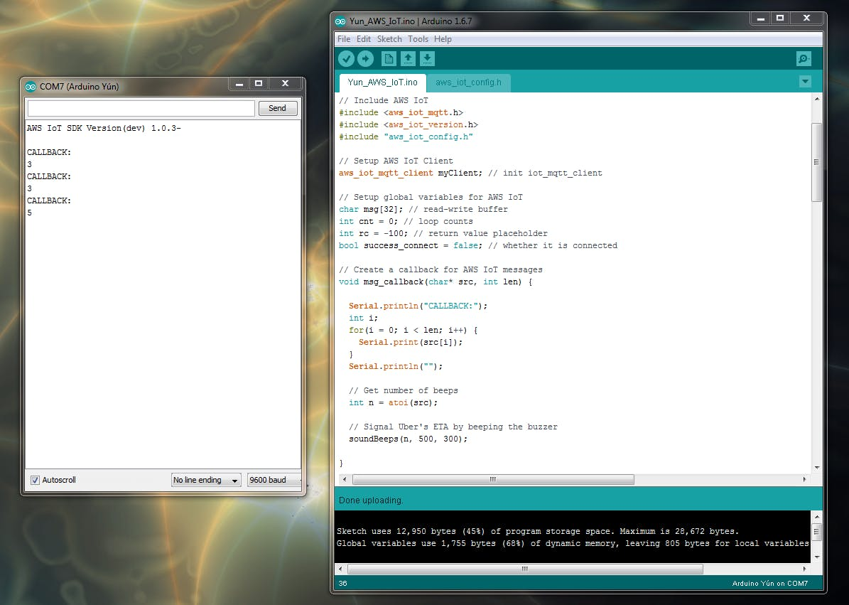 "Arduino IDE Showing MQTT Callbacks from ""uber"" topic"