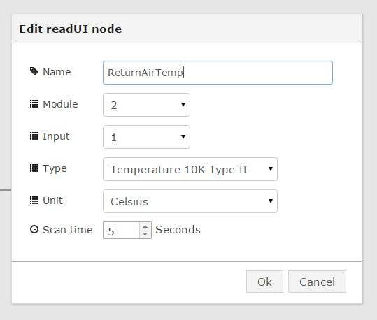 Example: readUI Configuration Screen