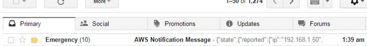 SNS E-mail notification