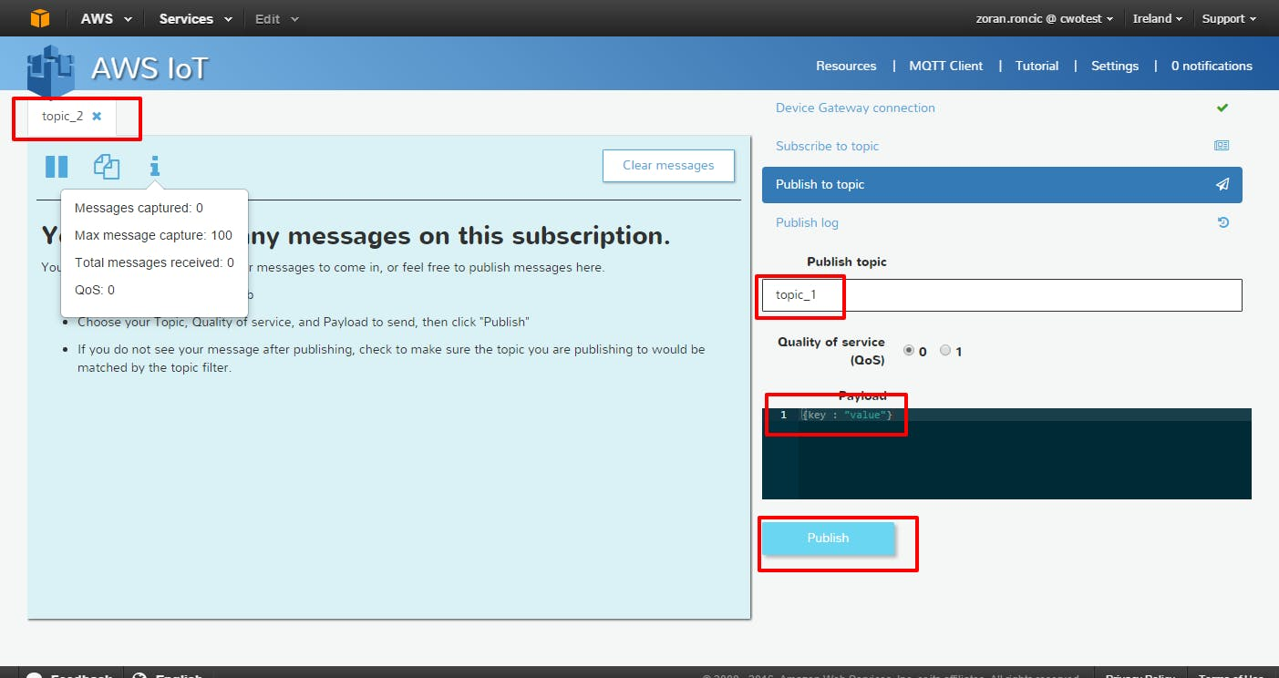 MQTT client with subscribe and publish topic