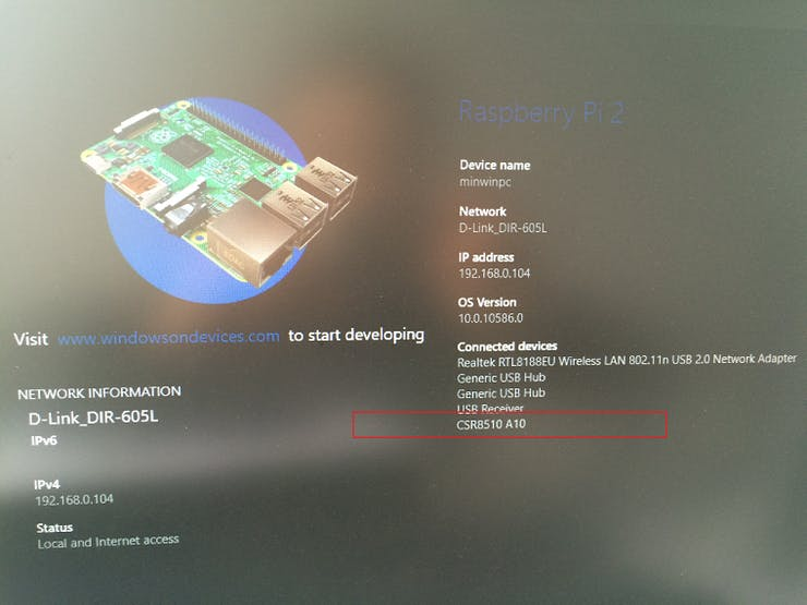 Fig.10: Information of Bluetooth module that display on Windows 10 IoT Core device
